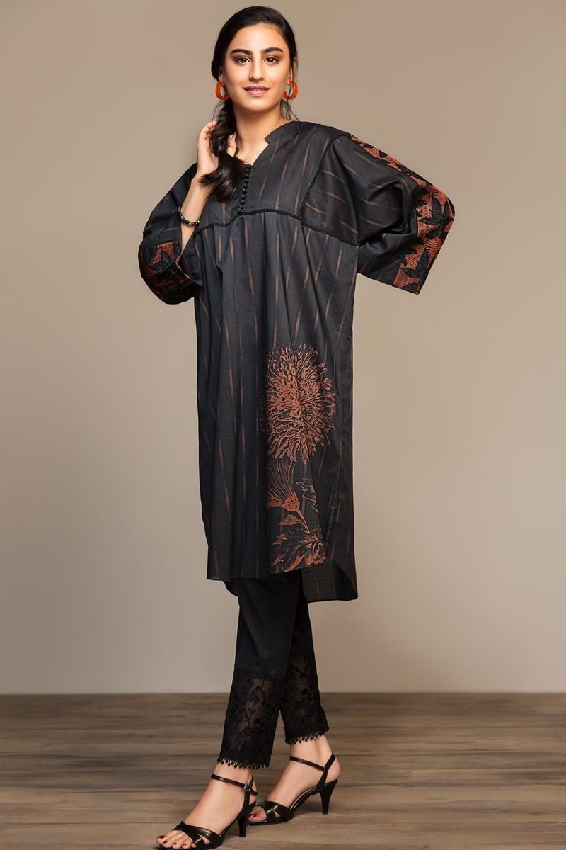 Black Printed Embroidered Stitched Lawn Shirt