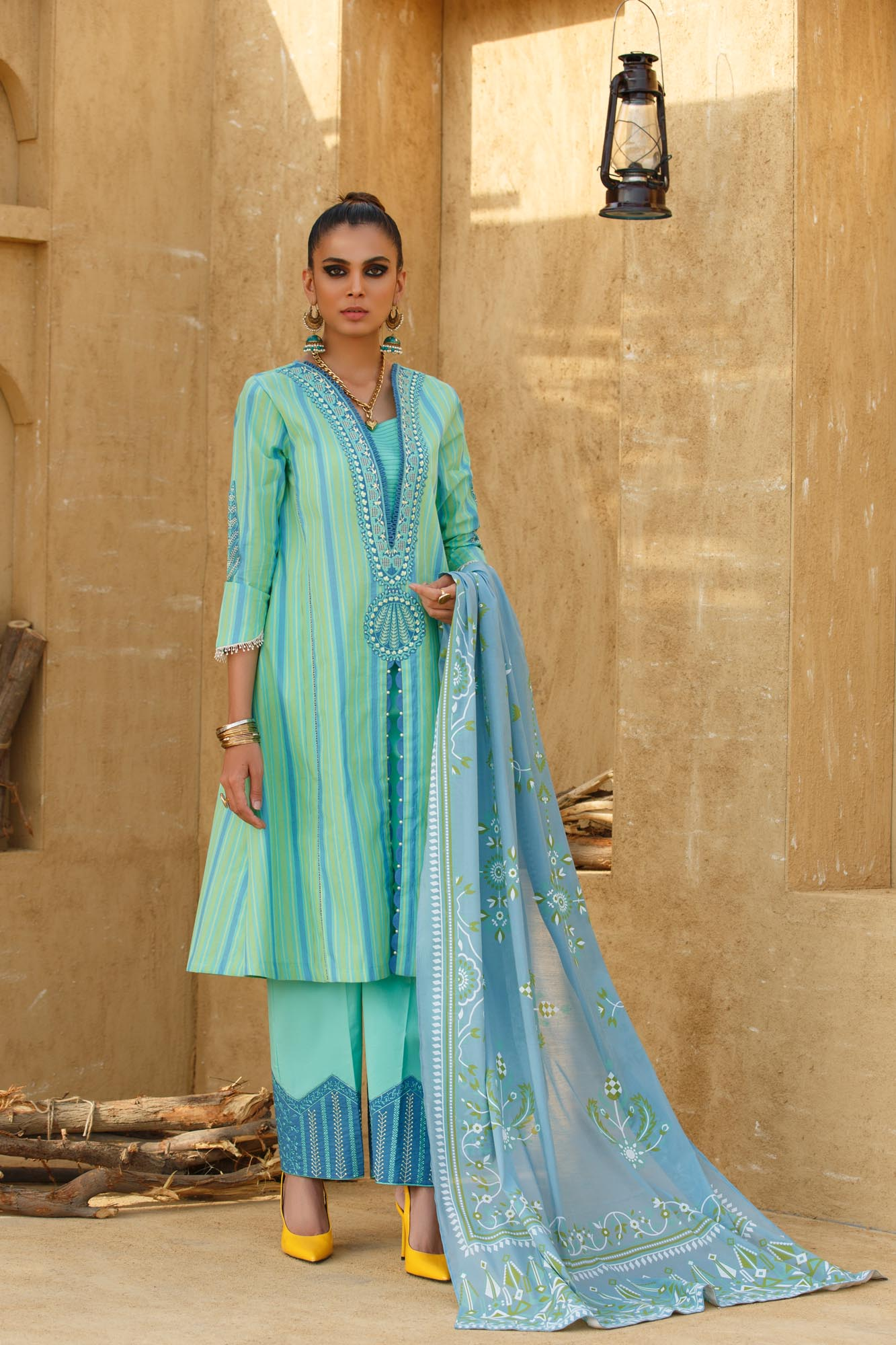 Ethnic Dyed Lawn 3pc suit