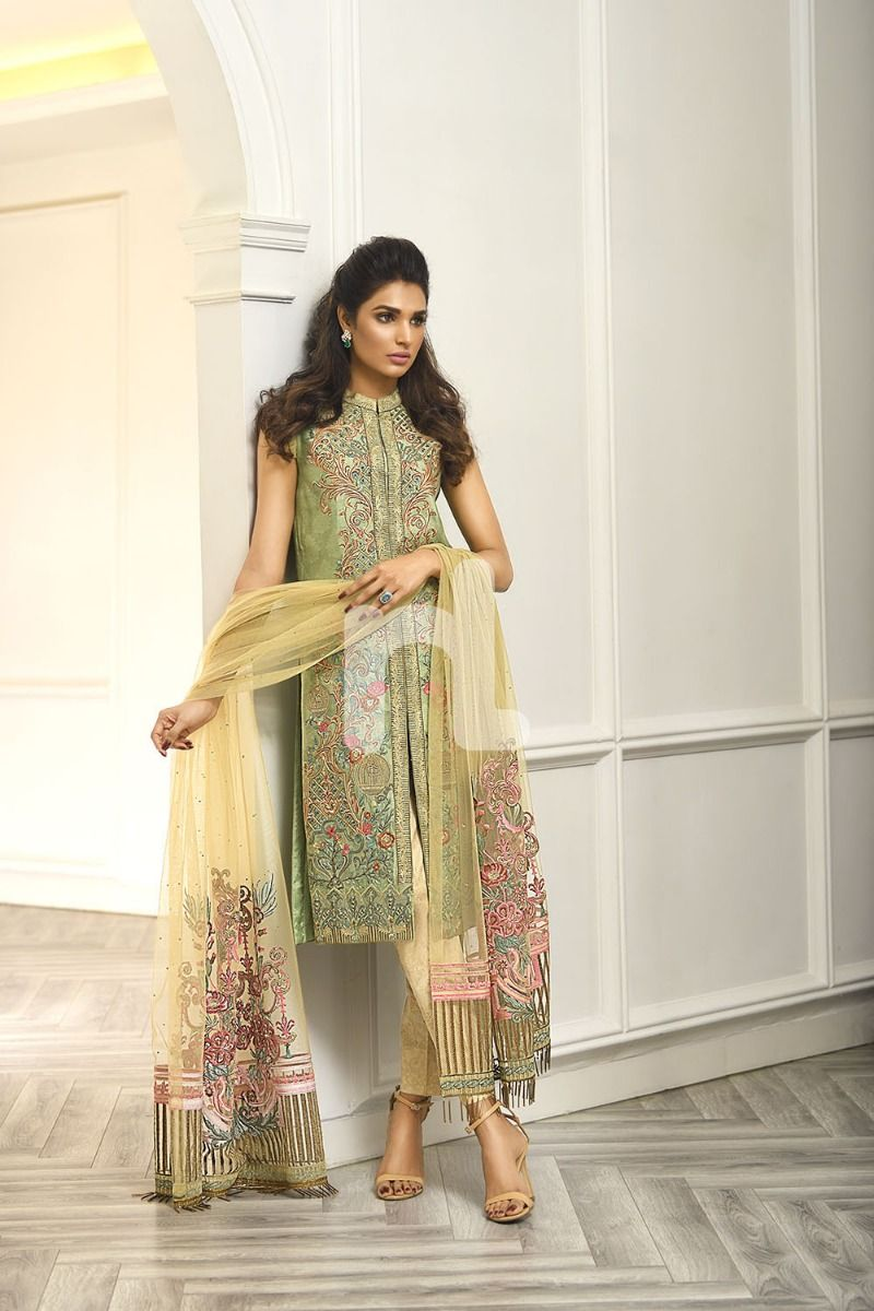 Green Embroidered Luxury Unstitched Suit
