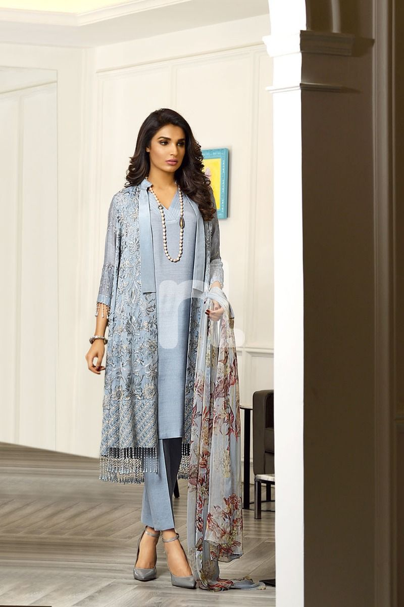 Grey Printed Embroidered Luxury Unstitched Suit
