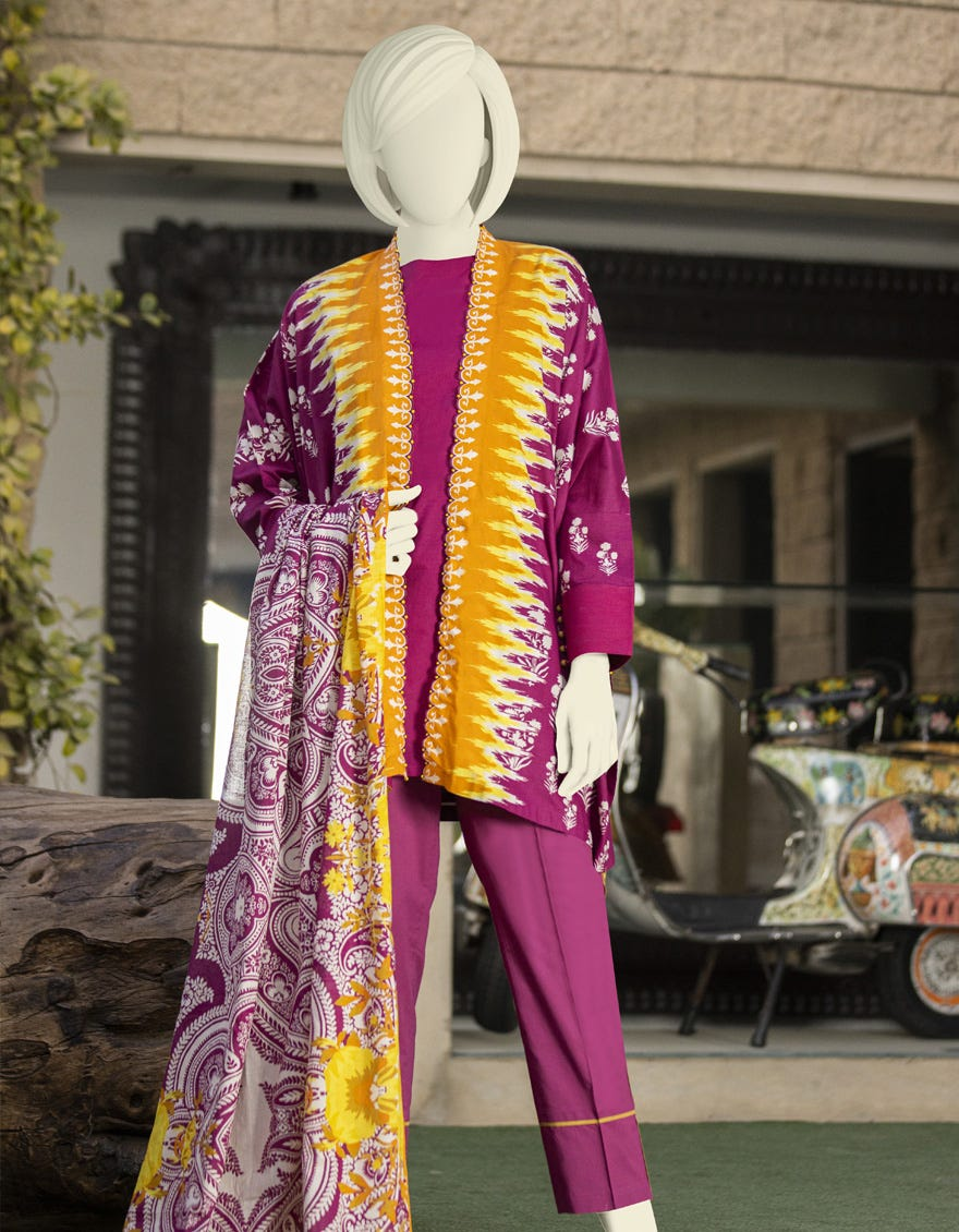 J. Embroidered lawn suit