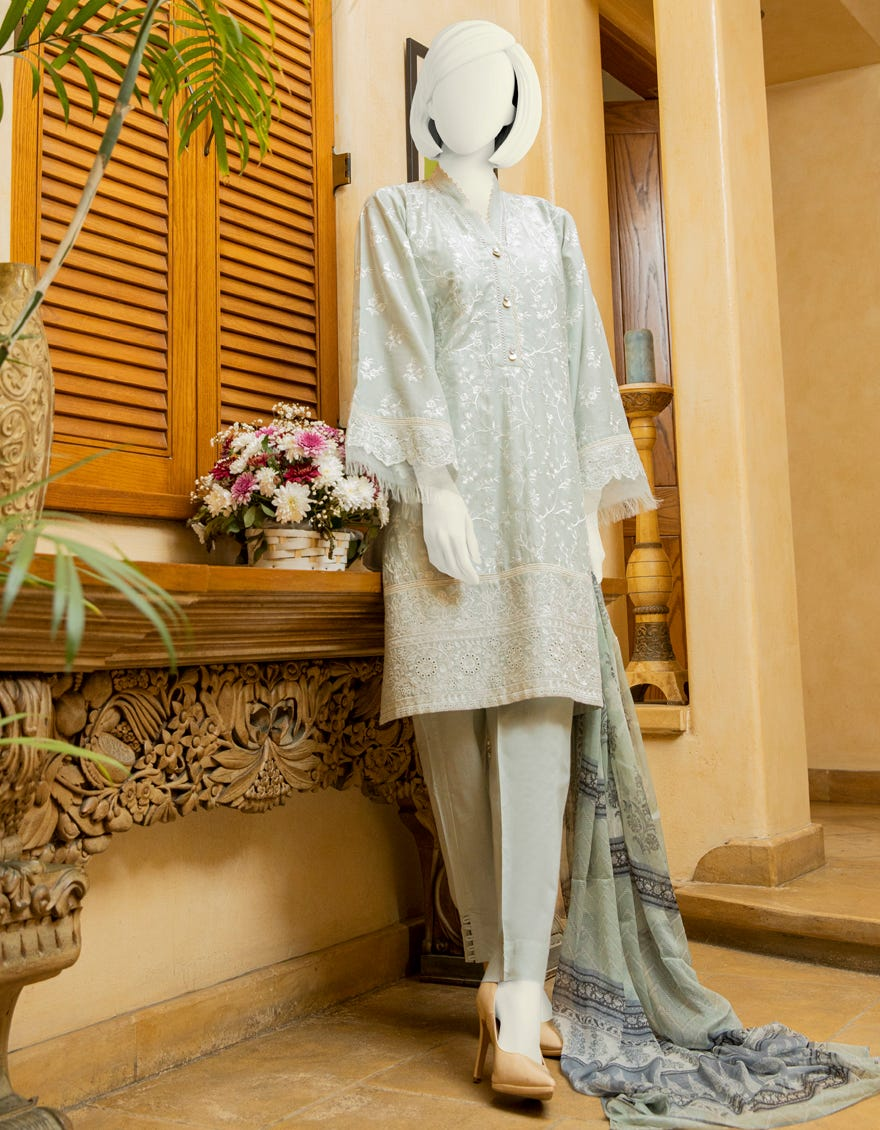 JLAWN suit with Dyed Schiffli Shirt