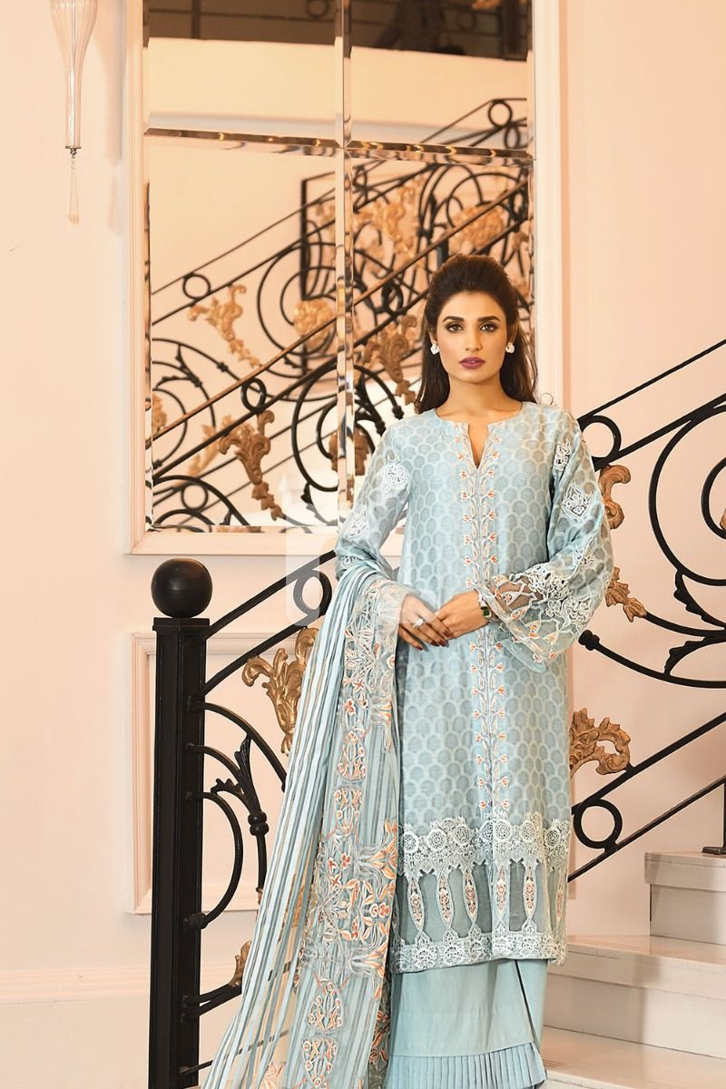 NL Organza Blue Embroidered Luxury Unstitched Suit