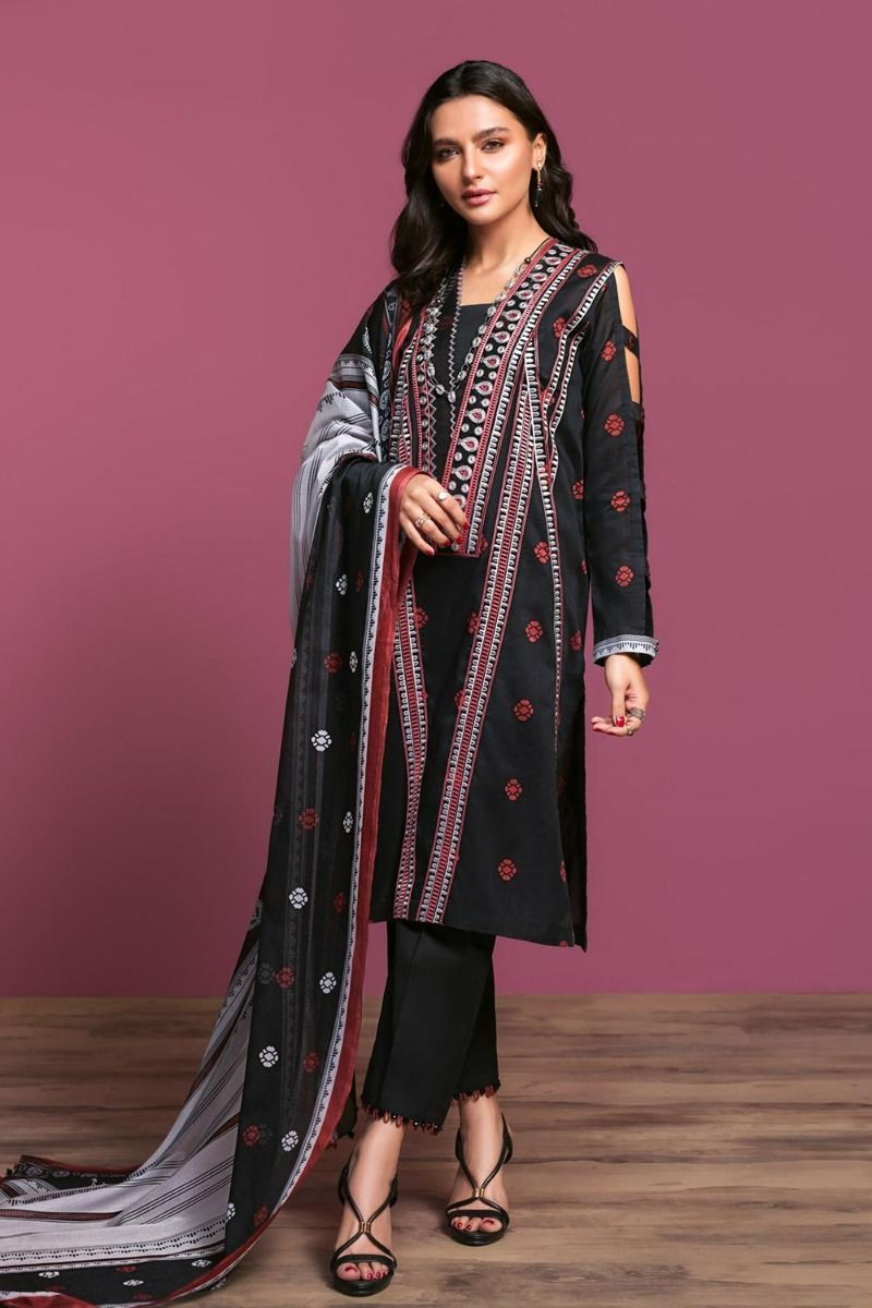 NL Printed Embroidered Lawn Black Suit
