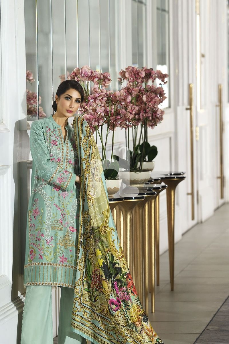 NL Silk Green Digital Printed Embroidered Suit