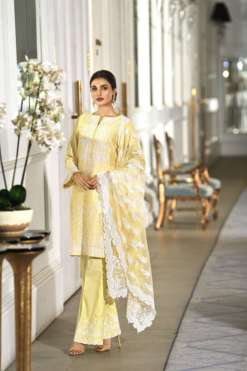 NL Unstitched Embroidered Lawn Yelloaw Suit