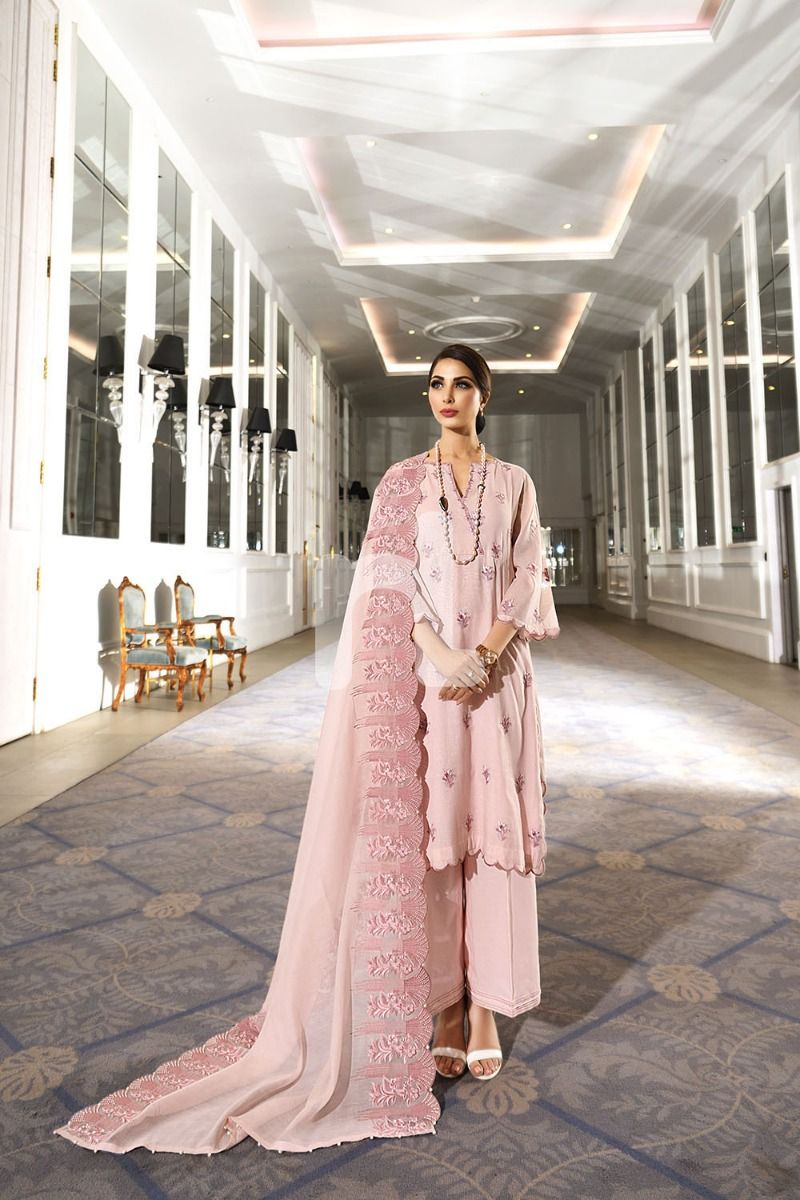 Nl Pink Embroidered Luxury Unstitched 3PC