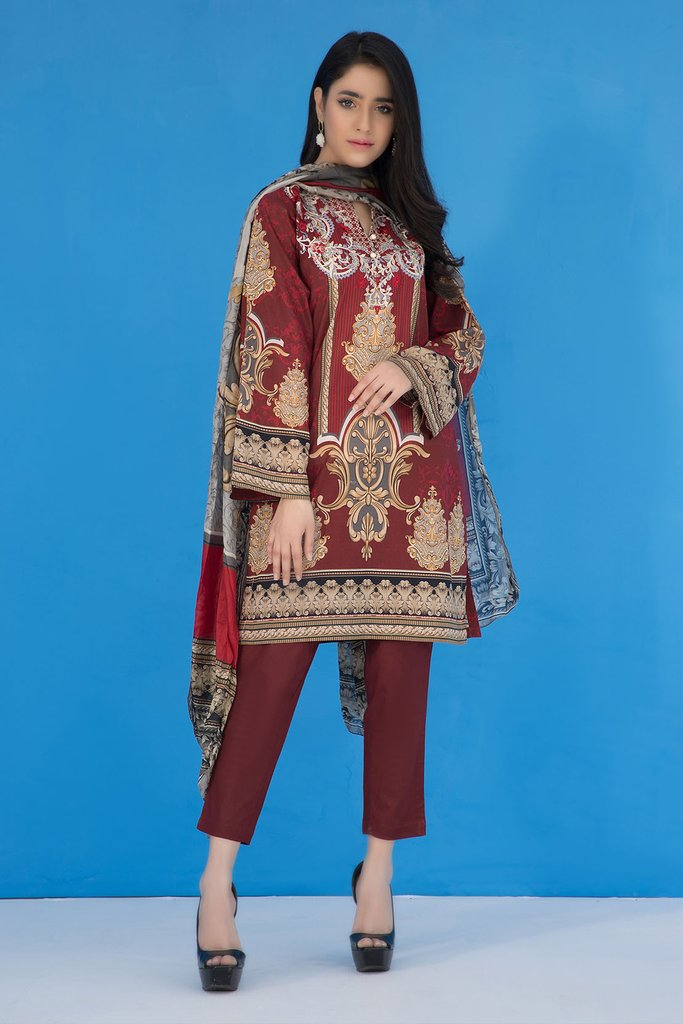 3Pc Wada Printed Embroiderd Suit