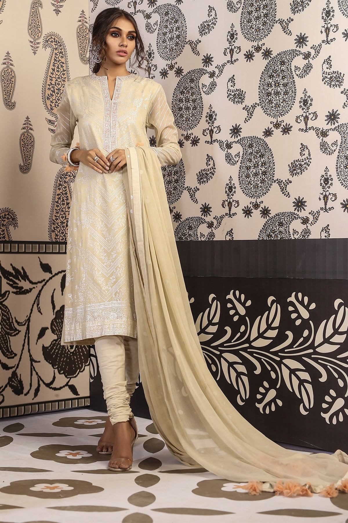 Alkaram 2 PC Embroidered Suit