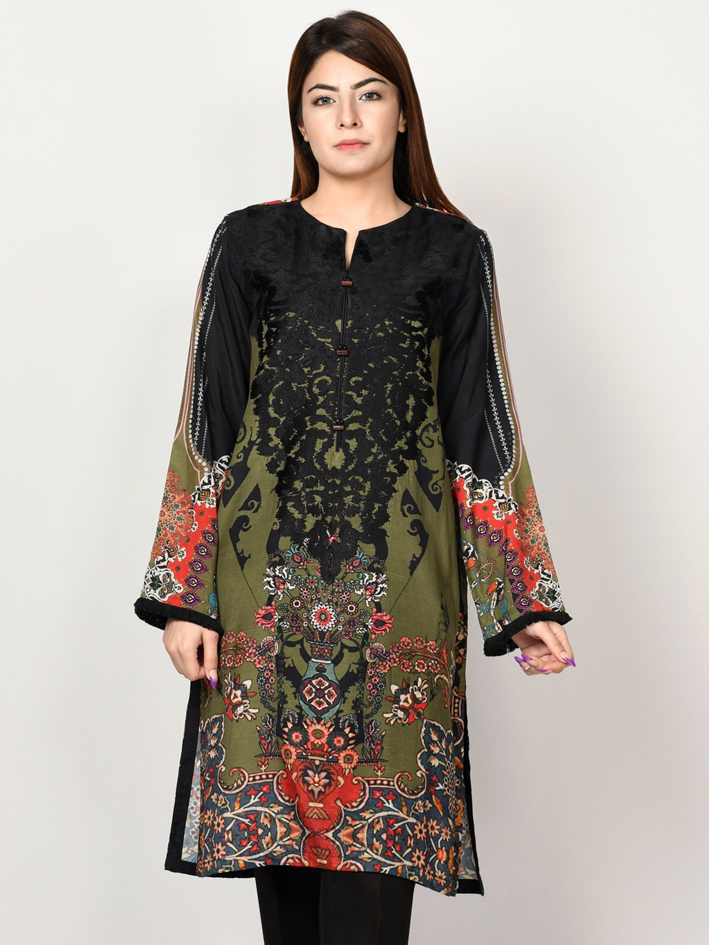 Limelight Embroidered Raw Silk Shirt
