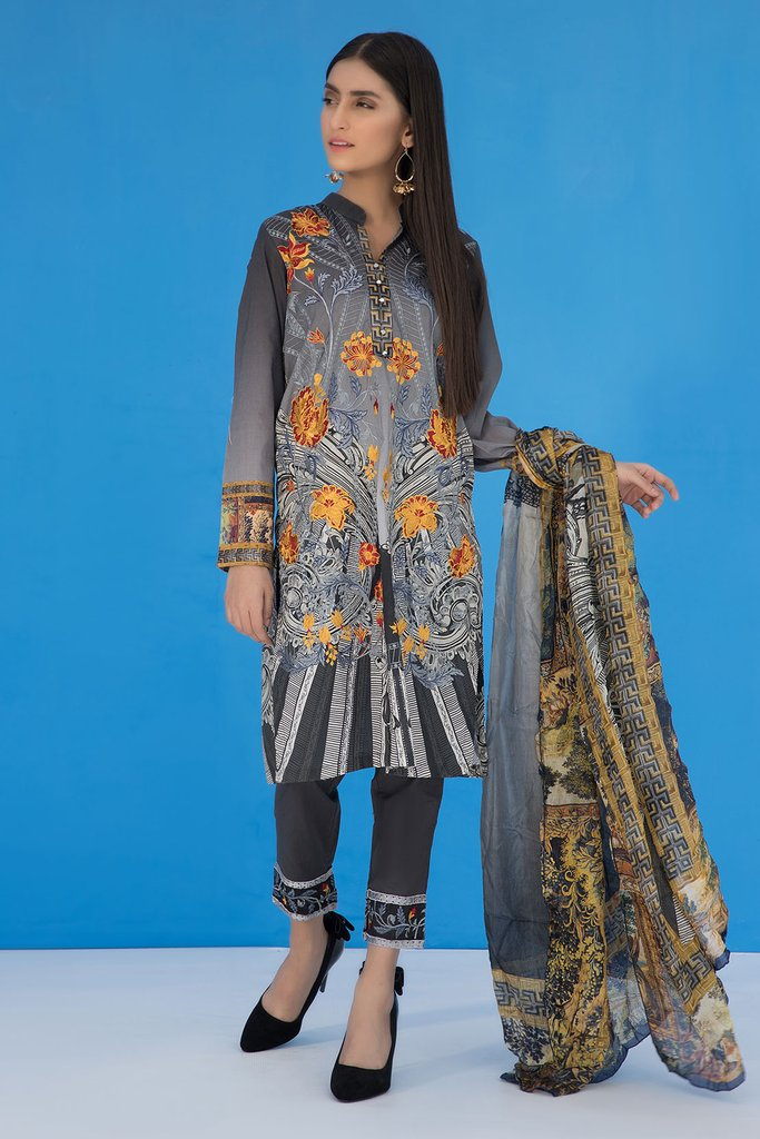 Warda Printed Embroidered Suit 3Pc