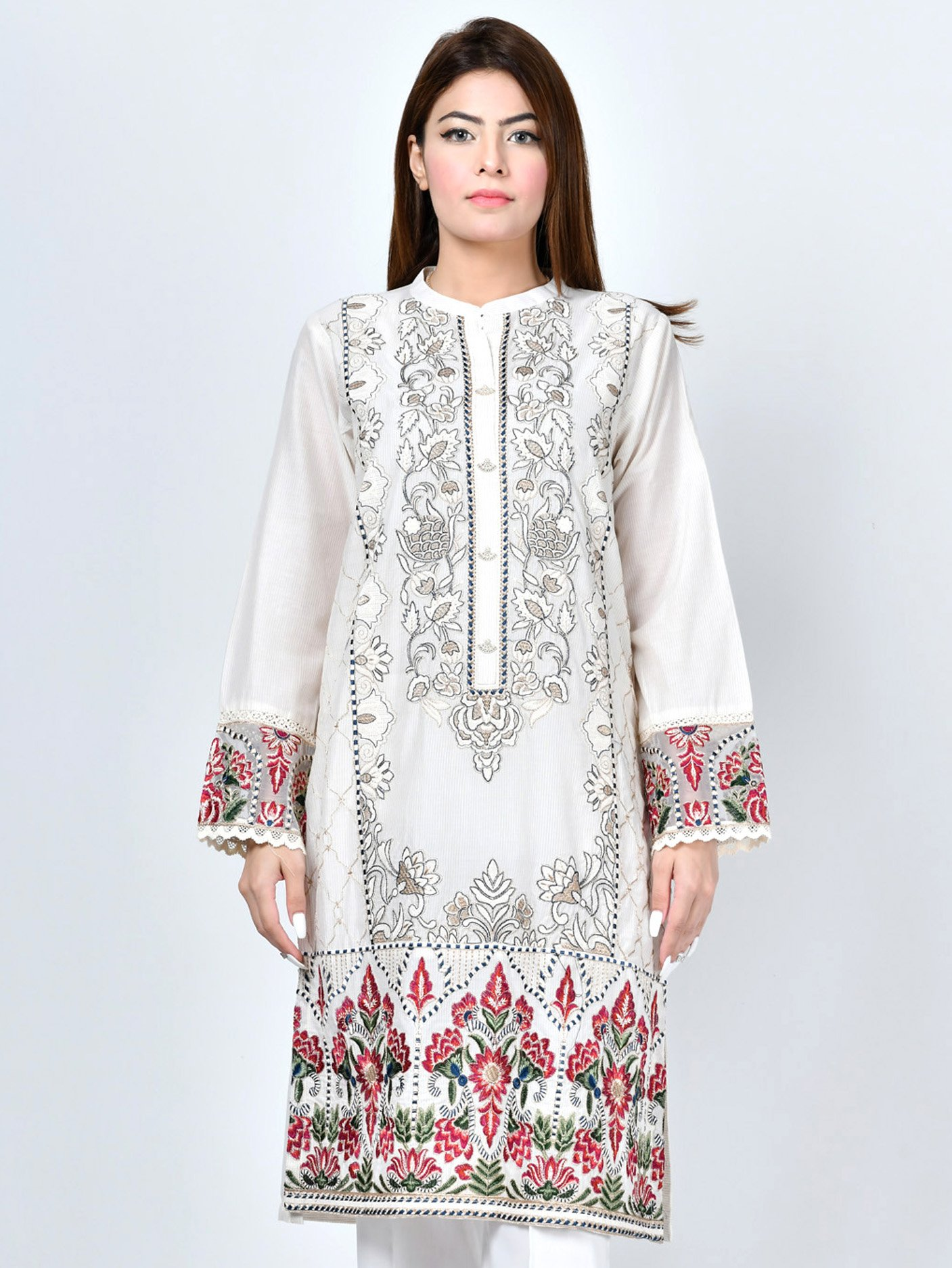 1Pc EMBROIDERED LAWN SHIRT Limelight