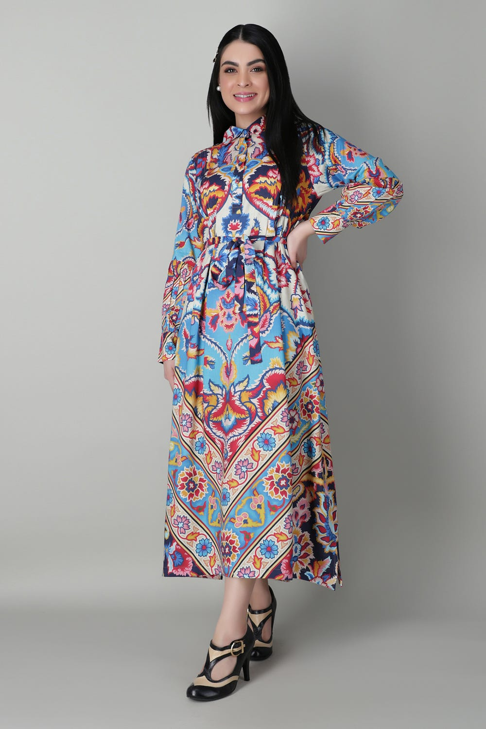 Belted Maxi Dress Khaddi
