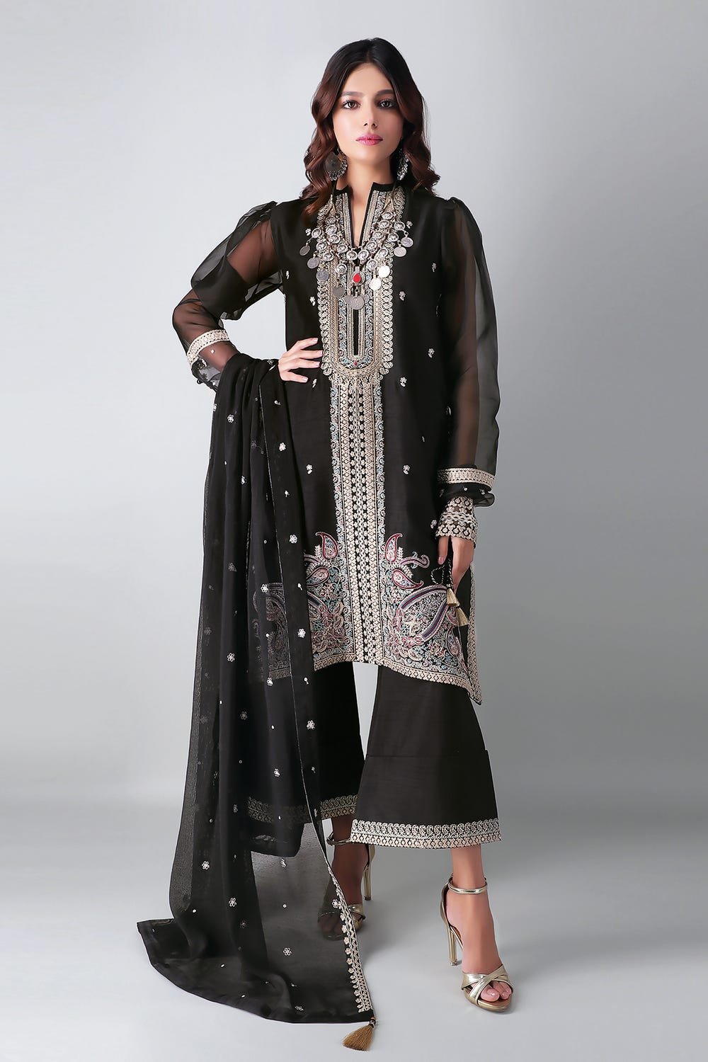 Khaddi Black Unstitched Embroidered suite 3Pc