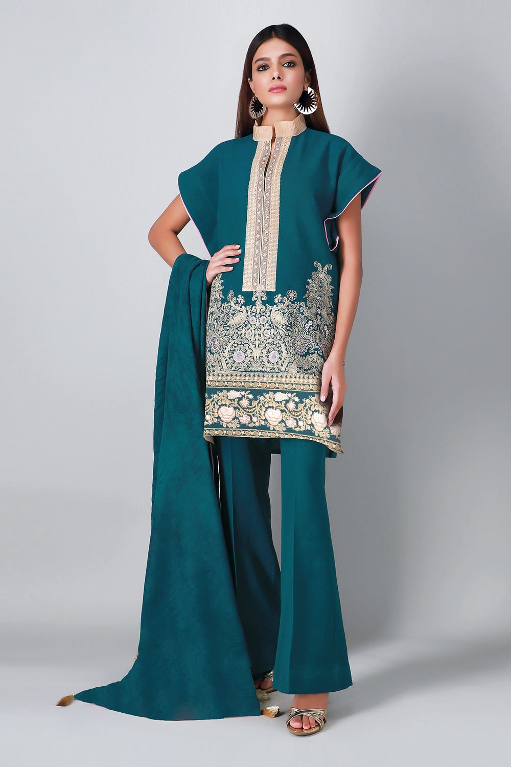 Khaddi Teal Unstitched Embroidered Suite 3pc