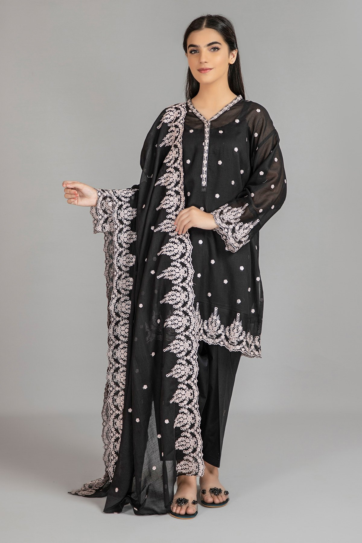 Dyed & Embroidered Shirt And Dupatta.