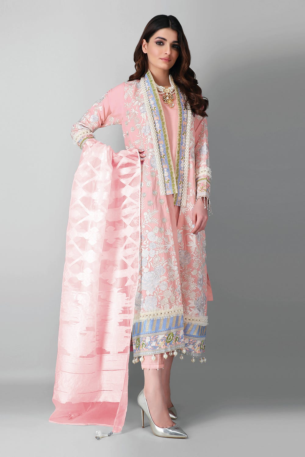 Embroidered Organza Khaadi pink suit