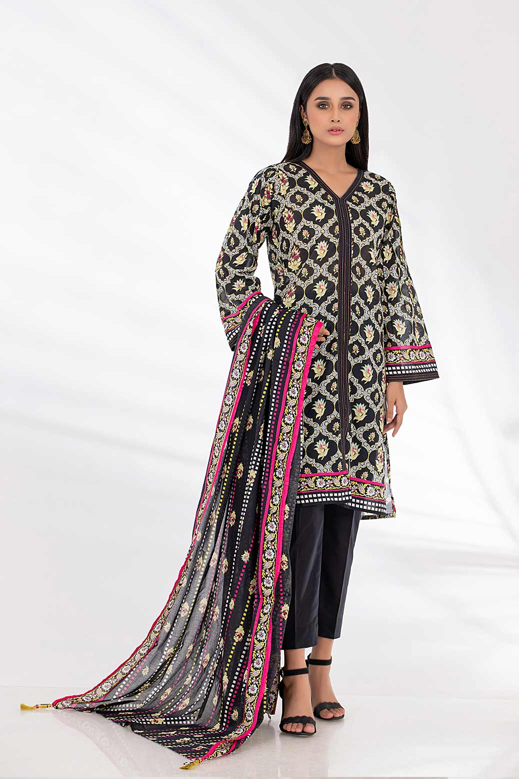 New Black Lawn Suit For Girls