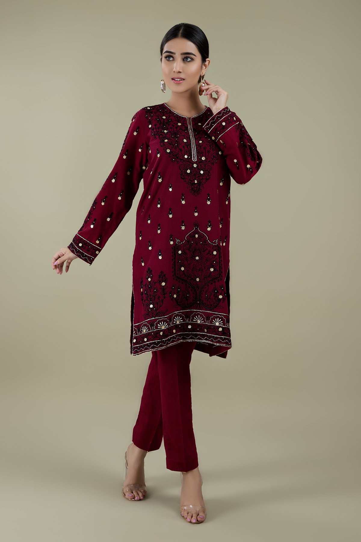 Shirt with Gota work and Solid Trouser