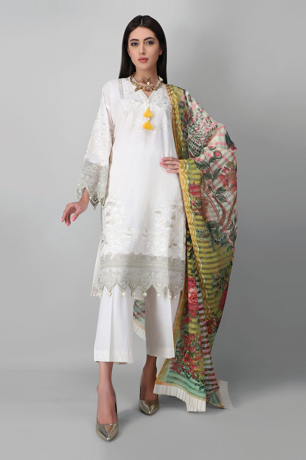 Unstitched Embroidered 3 Piece white suit