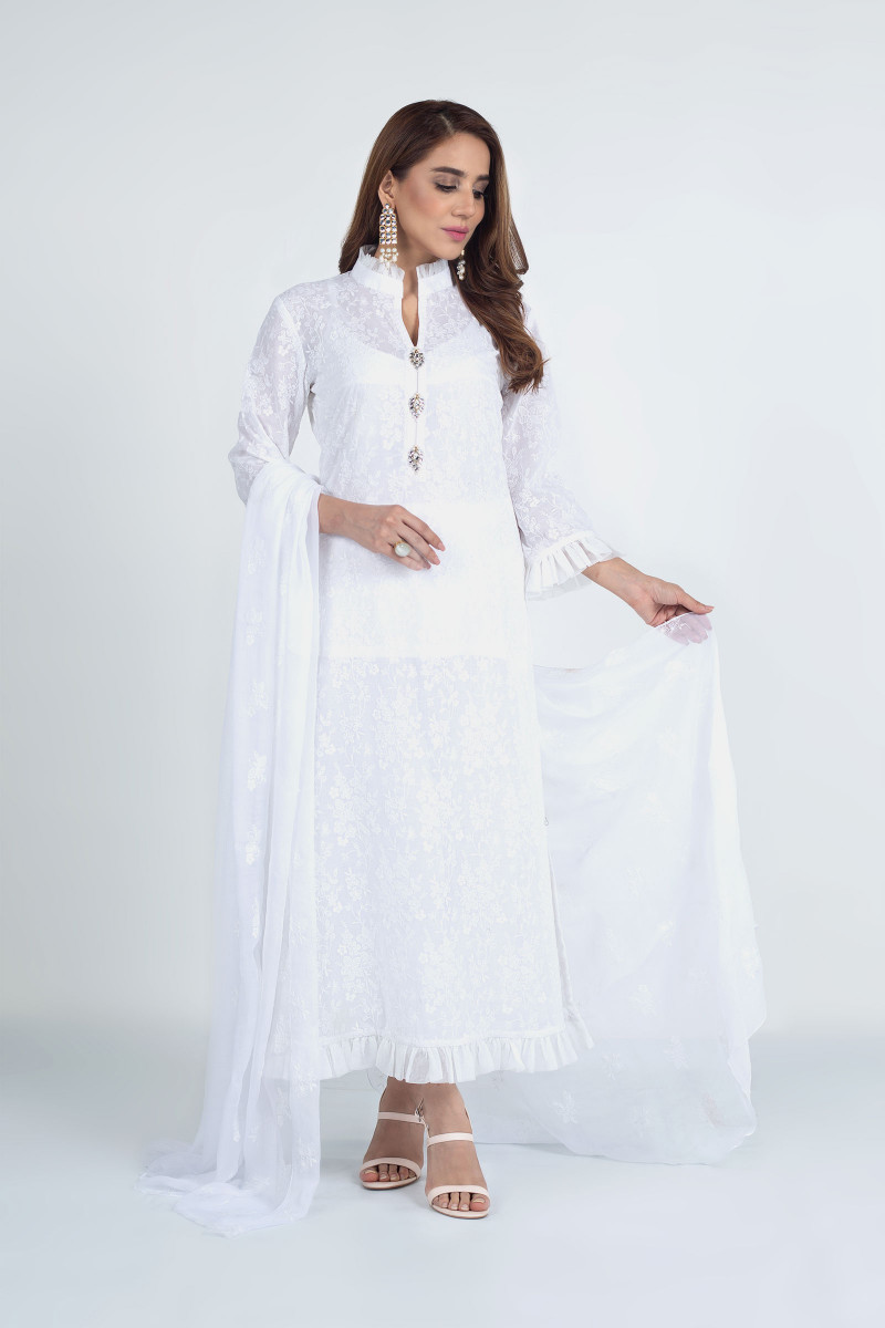 White New Bareeze Lawn For Girls