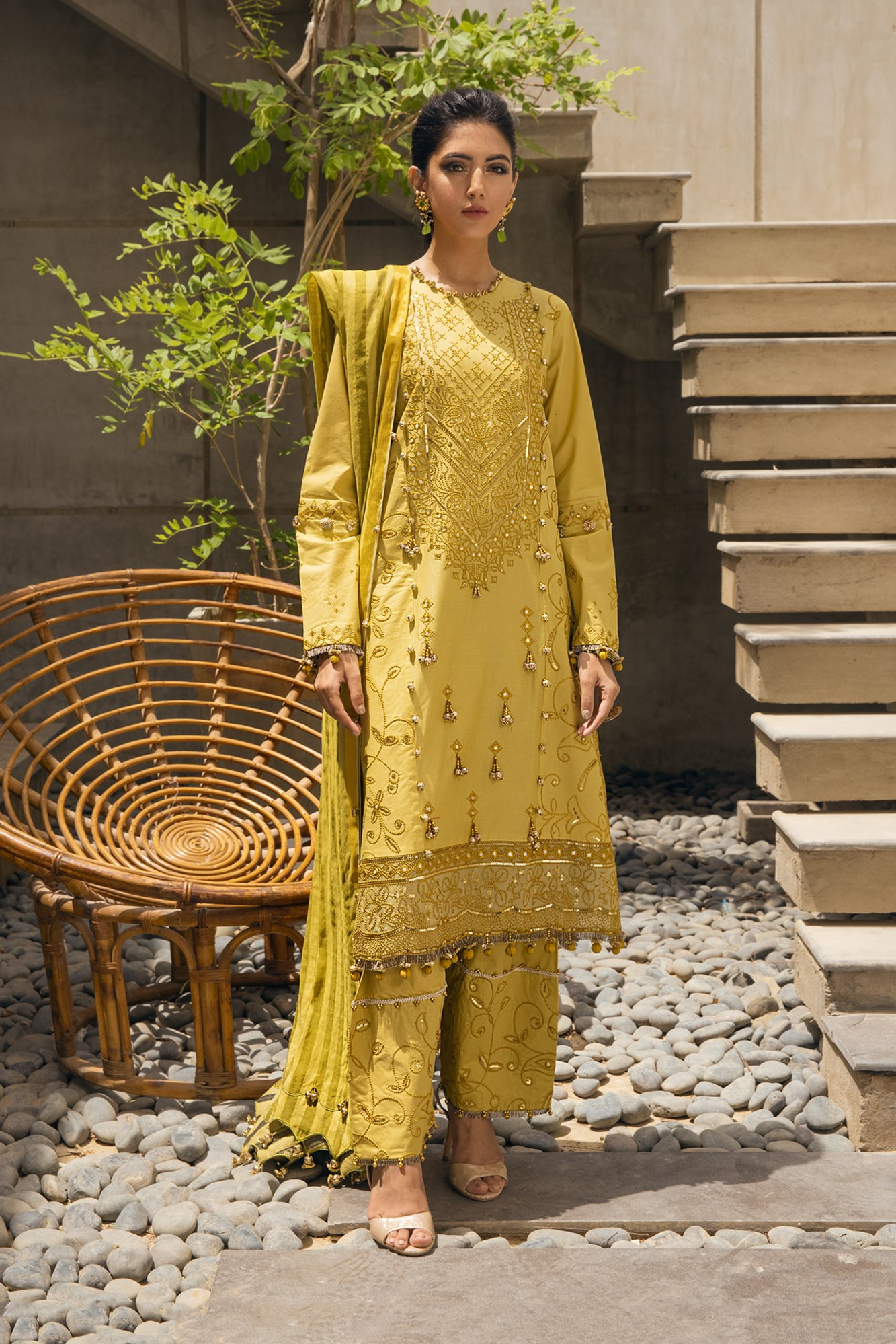 lime ethnic suit